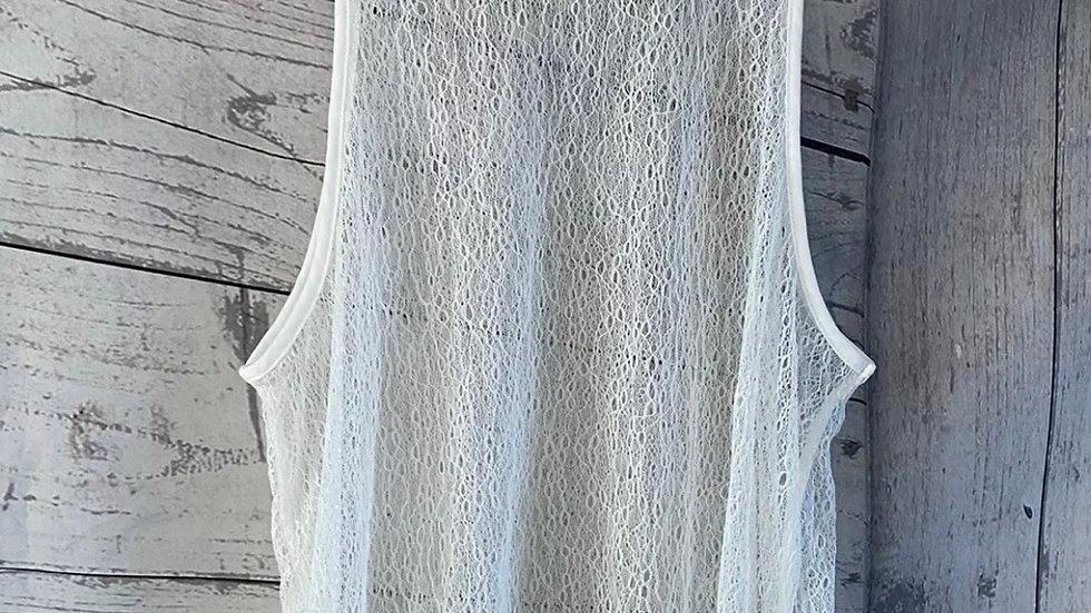 Womens / Ladies Next White Crotchet Vest Top Size 10 Excellent Condition