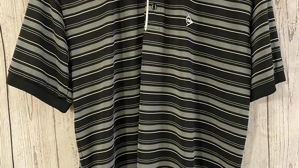 Mens Dunlop Golf Black Grey Stripe T-Shirt Size Medium
