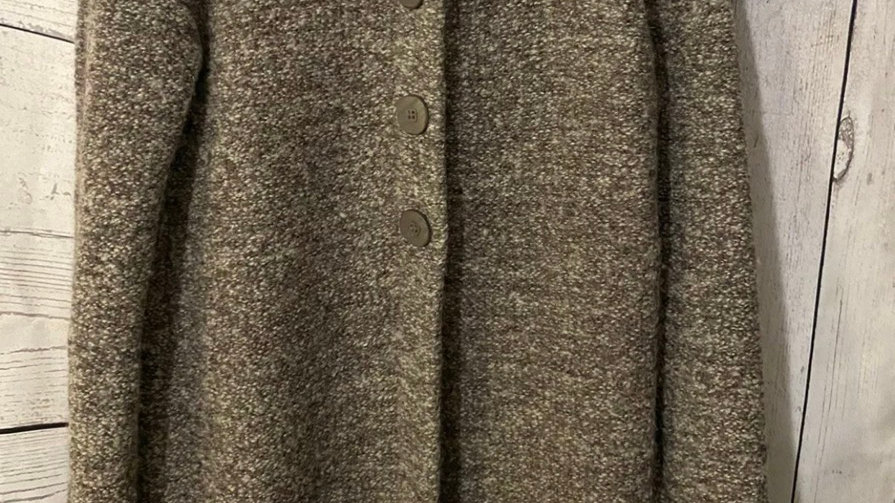 Womens / Ladies Wallis Brown Wool Mix Knitted Cardigsn Size Medium - Excellent