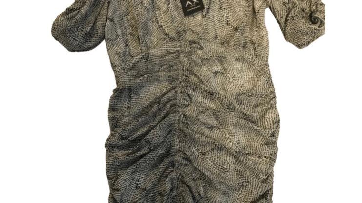 Womens / Ladies AX Paris Animal Print Ruffle Bodycon Dress Size 12 NEW TAGS