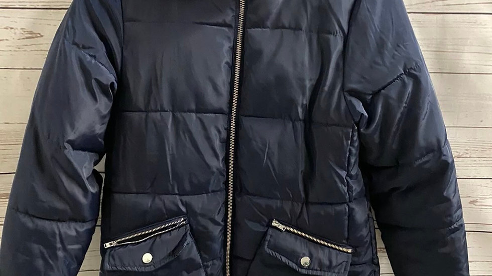 Girls Matalan Navy Padded Coat With Hood Age 13 Yeara Immaculate Condition