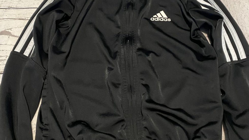 Boys Adidas Black Full Zip Jacket Age 7-8 Years Excellent Condition.