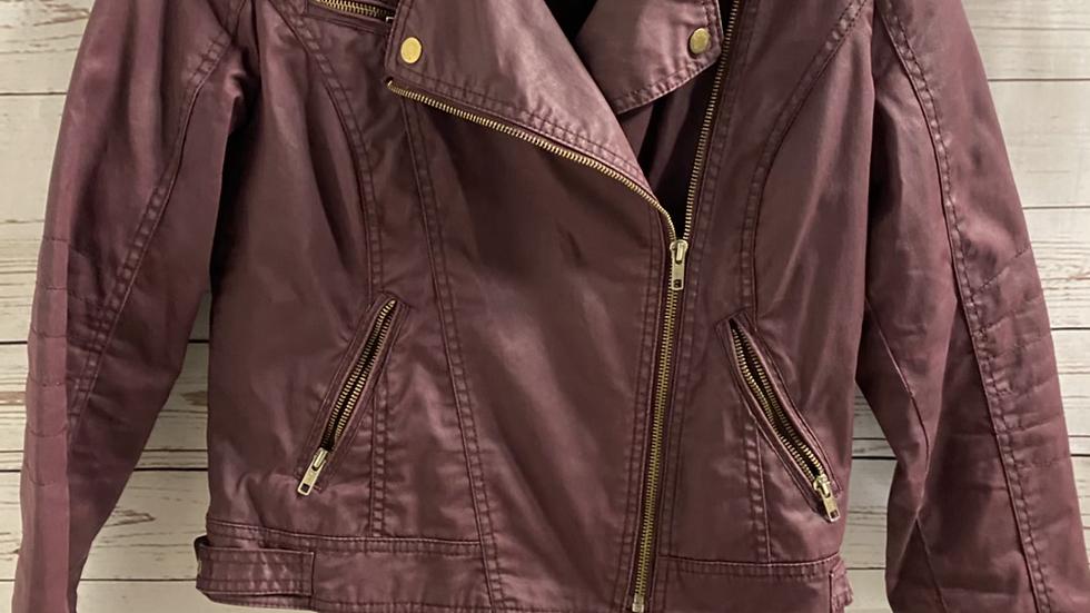 Womens / Ladies Matalan Purple Wax Effect Biker Jacket Size 10 Excellent