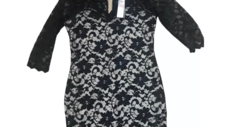 Womens / Ladies Lipsy Black Lace 3/4 Sleeve Dress Size 16 New With Tags