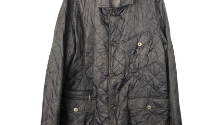 Mens Barbour Quilted Navy Coat Size Large - Excellent Condition