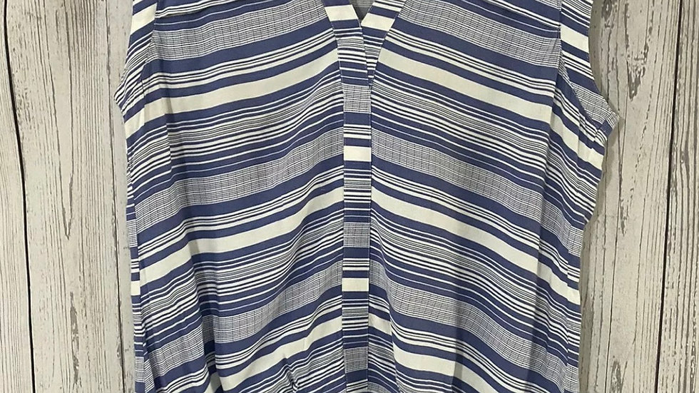 Womens / Ladies Next Blue Whire Stripe Blouse Size 14 Immaculate