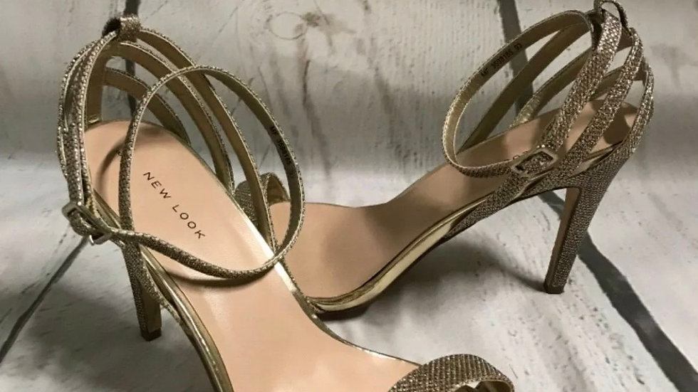 Women's / Ladies New Look Gold Sparkle Strap Hight Heels Size 8 - excellent