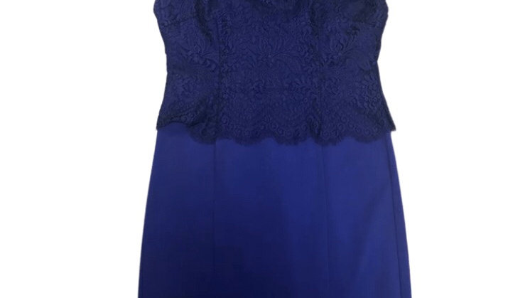 Womens / Ladies Ted Baker Blue Dress With Lace Size 4 Uk 14 Immaculate
