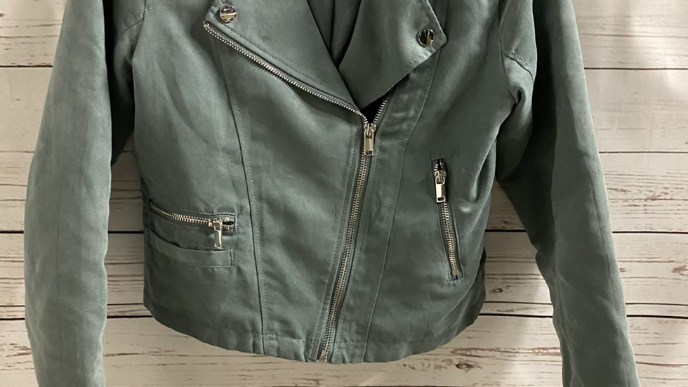 Girls H&m Green Suede Effect Biker Jacket Age 12-13 Years Excellent Condition