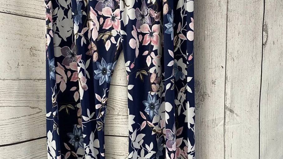 Womens / Ladies Urban Navy floral Flow Trousers Size L/XL New With Tags