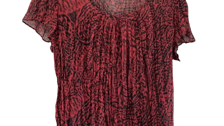 Womens / Ladies Marks & Spencer Pink Black Blouse Top & Under Vest Size 14