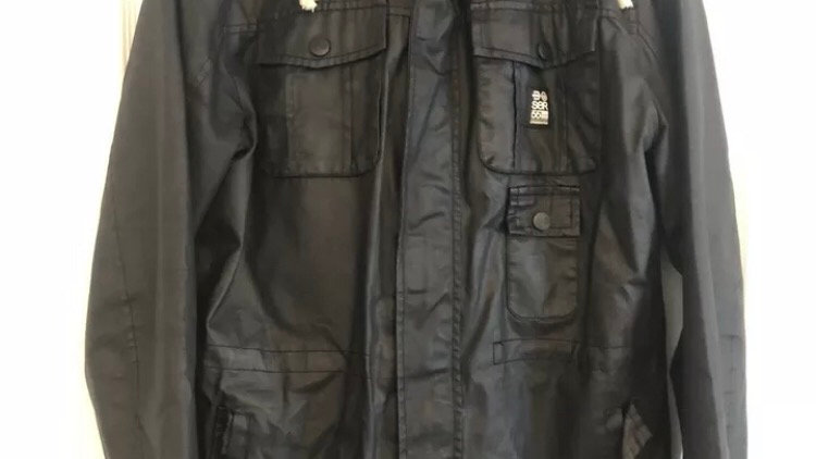 Mens Crosshatch Black Coat Size Large Immaculate Condition