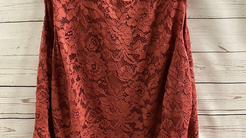 Womens / Ladies F&F Lace Blouse Top Cranberry Size 22 Immaculate Condition