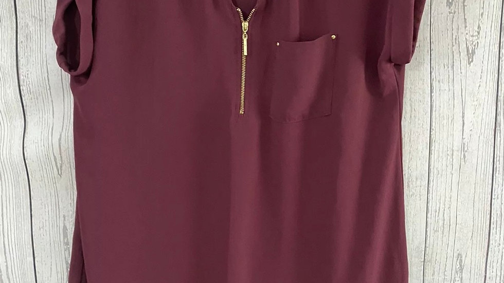 Womens / Ladies Peacocks Burgundy Blouse Top Size 12 Immaculate Condition