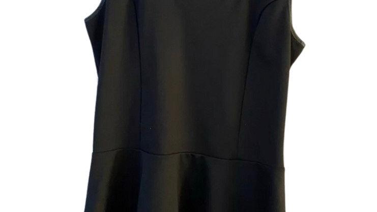 Womens / Ladies Green Envelope Black Vest Top Frill Hem Size Large Uk 14-16