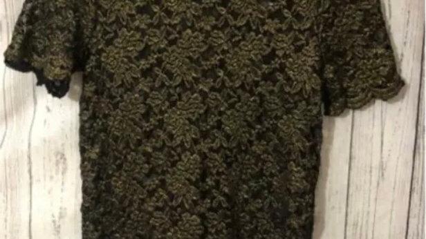 Women's River Island Gold & Black Sleeveless Top Blouse Size 8