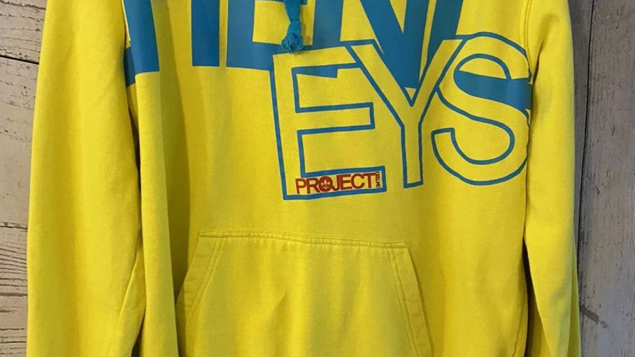 Mens Henleys Yellow Pull Over Hoodie Top Jumper Size Large Excellent