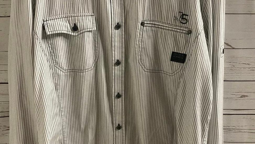 Mens Jack & Jones White Black Stripe Long Sleeve XL Immaculate Condition