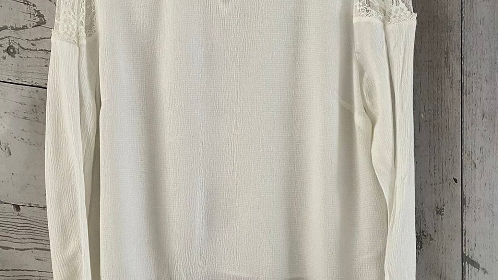 Womens / Ladies Marks & Spencer Ivory Long Sleeve Blouse Top & Lace Size 16