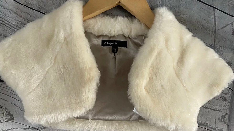 Girls Marks & Spencer Fluffy Cream Shoulder Cardigan Age 2-3 Years Immaculate