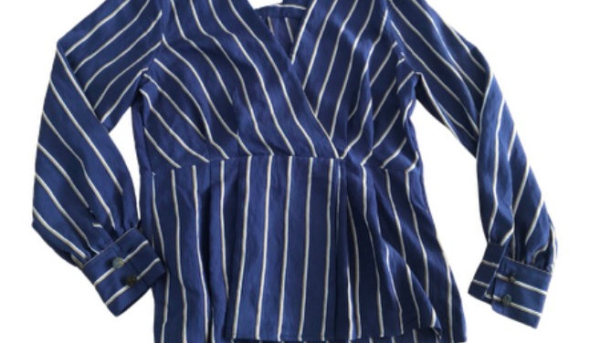 Womens / Ladies Topshop Blue Stripe shirt Blouse Top Size 10 - New With Tags
