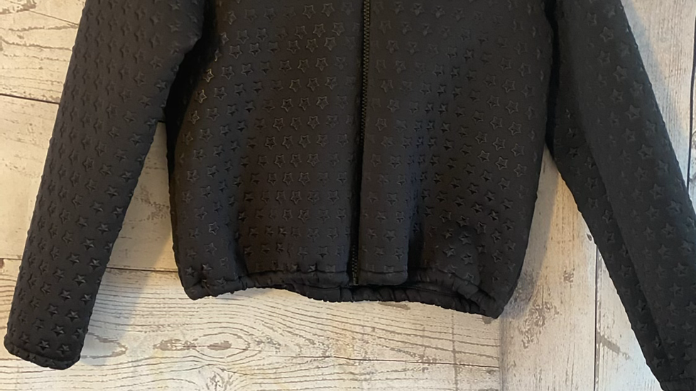 Girls Marks & Spencer Black Full Zip Star Jacket Age 10-11 Years Immaculate