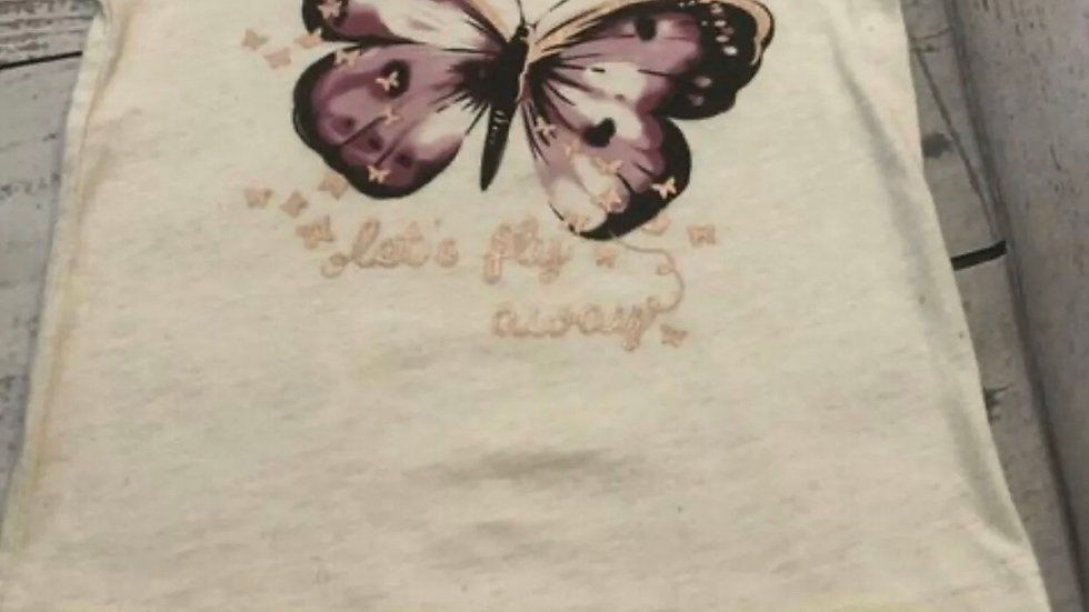 Girls Primark Cream Butterfly Top Age 1.5 - 2 Years Immaculate Condition
