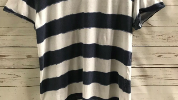 Men's T.shirt Criminal blue and white stripe size small good condition