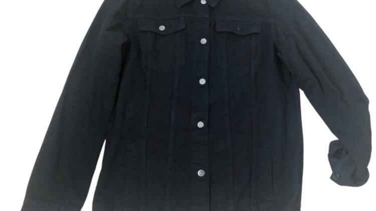 Womens / Ladies boohoo Black Denim Jacket Size 12 - Excellent Condition