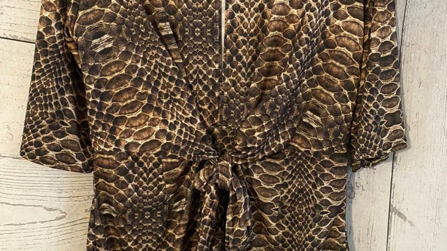 Womens / Ladies Boohoo Snake Print Brown 3/4 Smeeve Playsuit Size 16 Immaculate