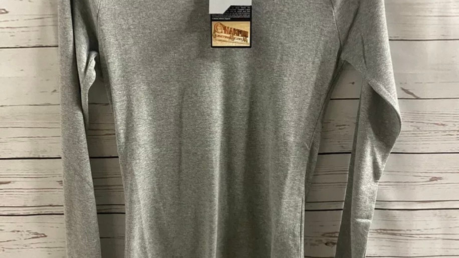 Womens / Ladies Champion Grey Long Sleeve V Neck Top Size Small New With Tags
