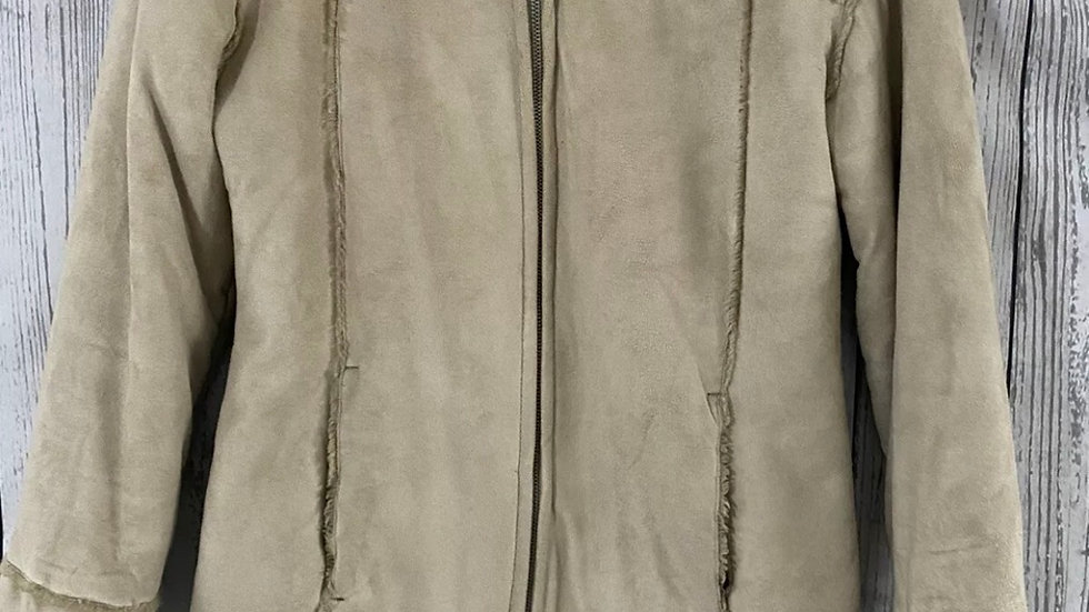 Womens / Ladies Matalan Suede Effect Fleece Lined Jacket Coat Size 8 Excellent