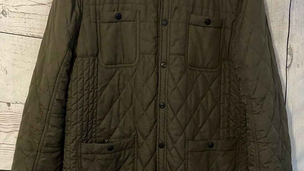 Mens River Island Brown Quiled Coat Size Large - Excellent Condition