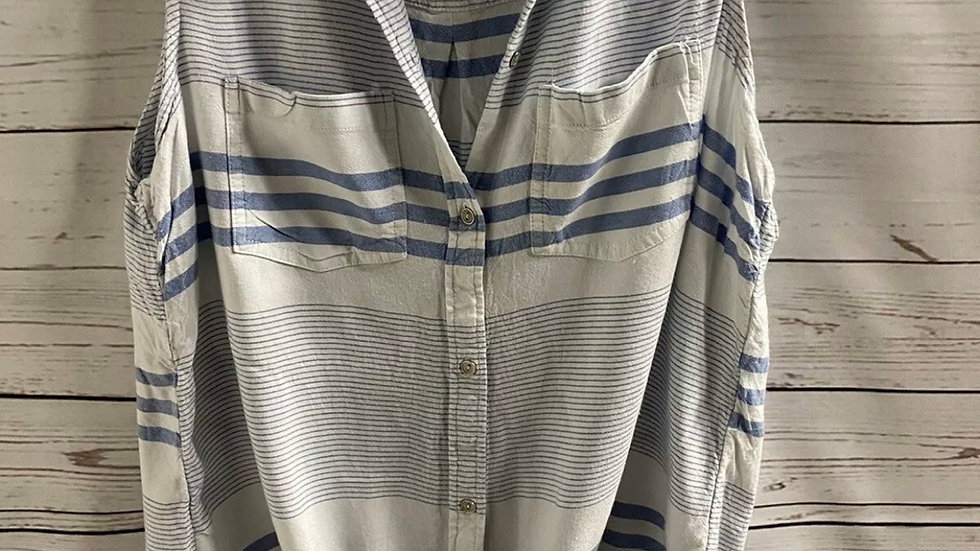 Womens & Ladies George Blue White Stripe Shirt Size 14 Good Condition