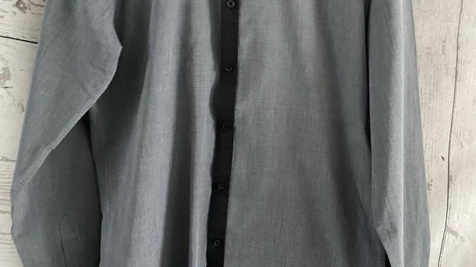 "Mens Moss London Grey Long Sleeve Shirt Size 15."" Chest Immaculate"
