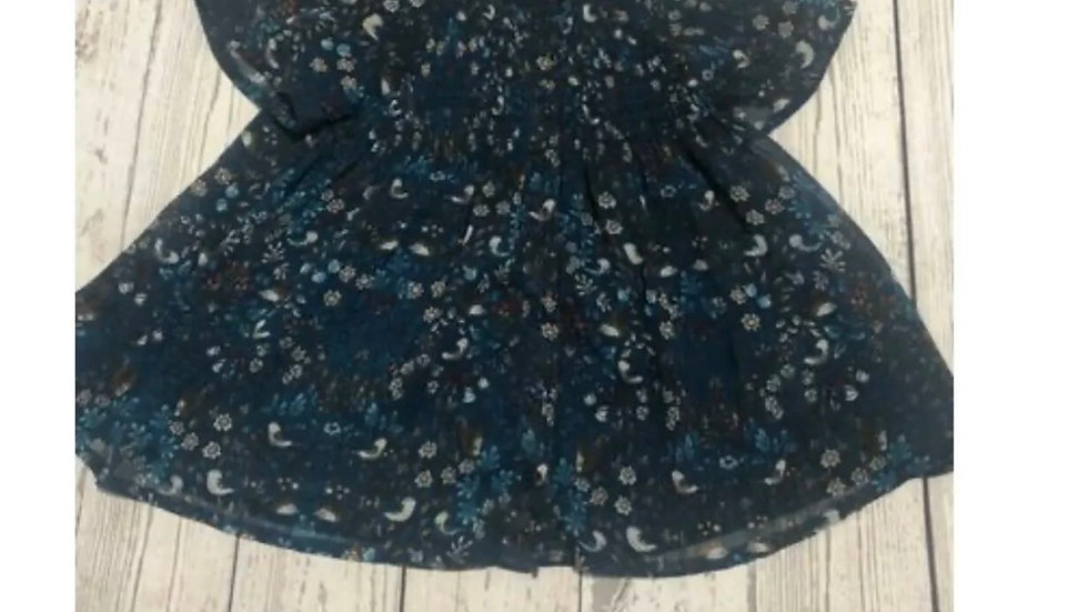 Baby Girls Next Green / Blue Bird Design Full Button Dress Age 1.5 - 2 Years