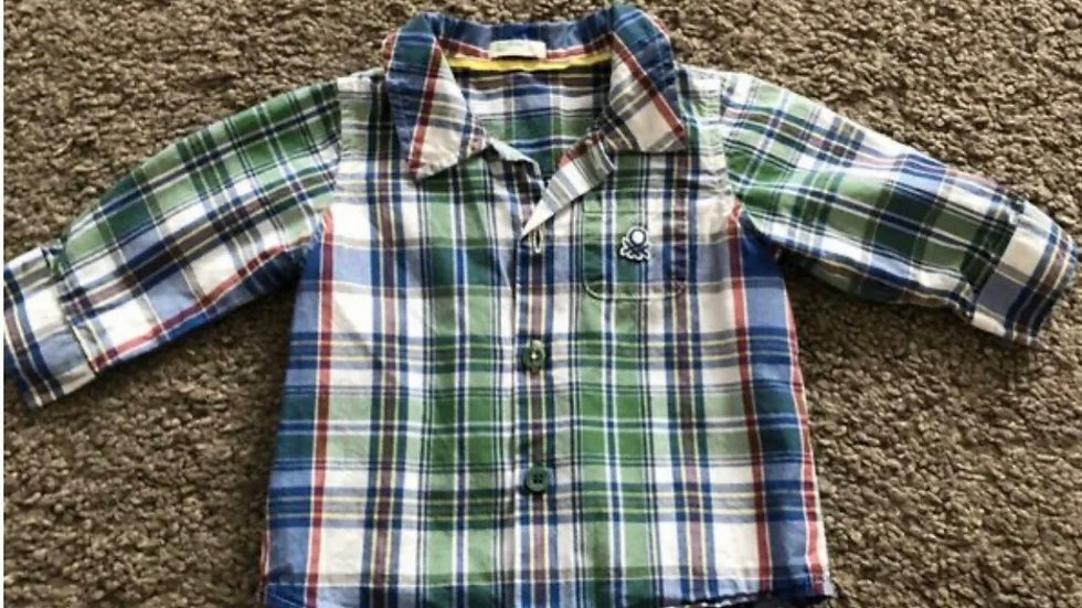 Boys United Colors Of Benetton Check Long Sleeve Shirt Age 0-3 Months Excellent