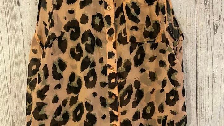 Womens / Ladies Miso Pink Leopard Print Sleeveless Blouse Shirt Size 10