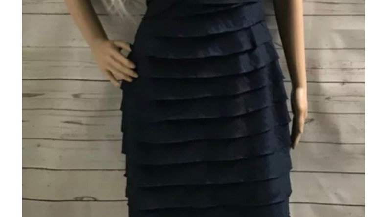 Women's / Ladies London's Times Navy Layered Dress Lined Size 10 Immaculate