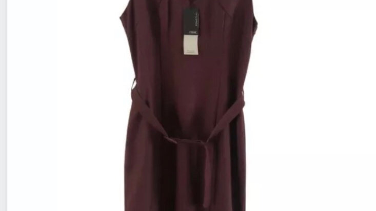 Womens / Ladies Next Tailored Burgundy Lined Dress Size 14 New With Tags