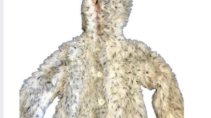 Girls River Island Faux Fur Coat Grey Black Age 3 Years Immaculate