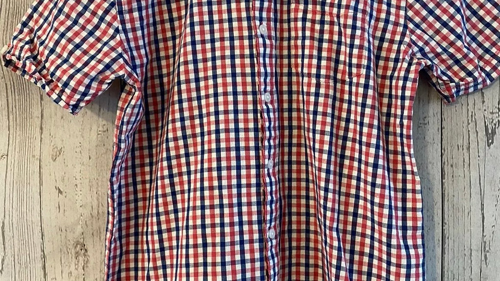 Boys Ben Sherman Red Blue Check Short Sleeve Shirt Age 12-13 Years Immaculate