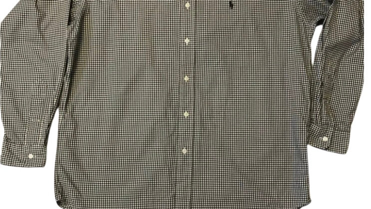 Mens Polo Ralph Lauren Black Cream Check Blake 100% Cotton Shirt Size Medium