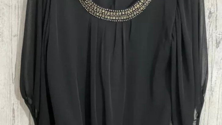 Womens / Ladies Dorothy Perkins Black 3/4 Sleeve Blouse Top Size 10 Immaculate