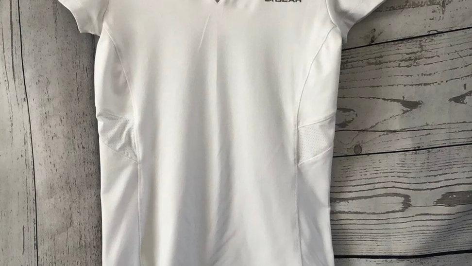 Womens / Ladies LA Gear White Gym V Neck Top Size 8  Good Condition