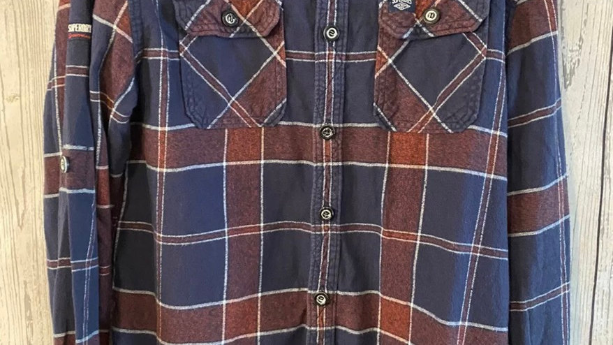 Mens Superdry Navy & Burgundy Soft Thick Shirt Size XL Excellent Condition