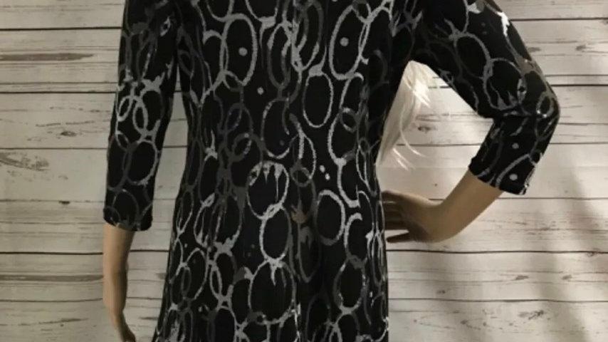 Women's / ladies Black patterned warehouse dress size 14 excellent condition