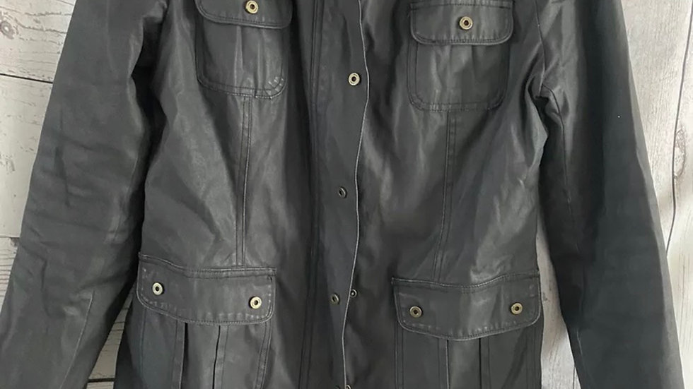 Mens MND Black Wax Effect Coat Size Small Good Condition