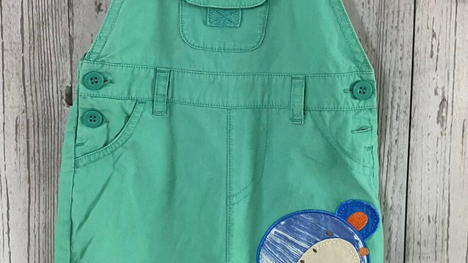 Boys Mothercare Green Dungaree Set 3-6 Months Excellent Condition