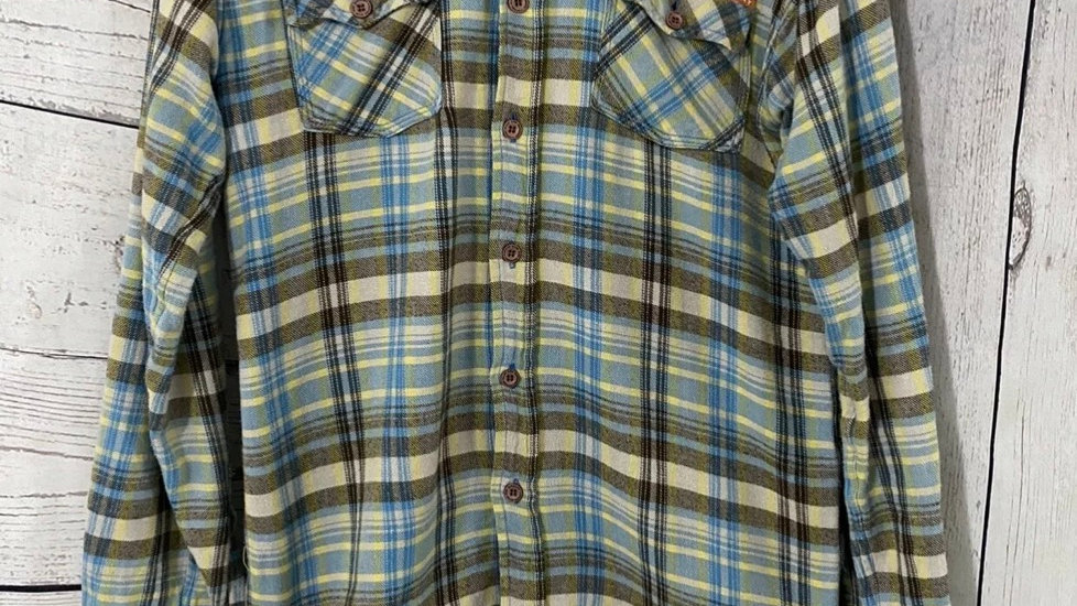 Mens Superdry Brown Blue Green Check Shirt Size Small Good Condition